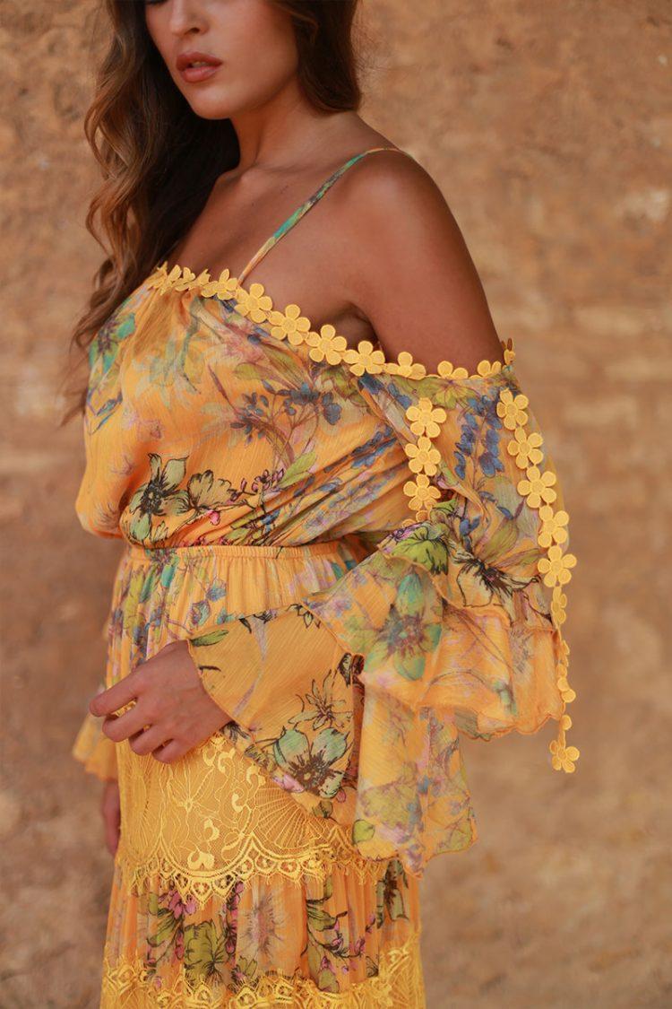 vestido amarillo largo volantes valeria 2