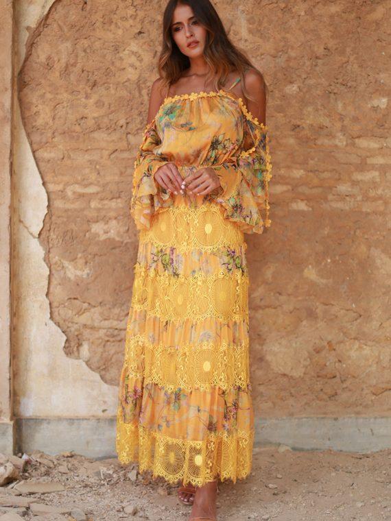 vestido amarillo largo volantes valeria 3