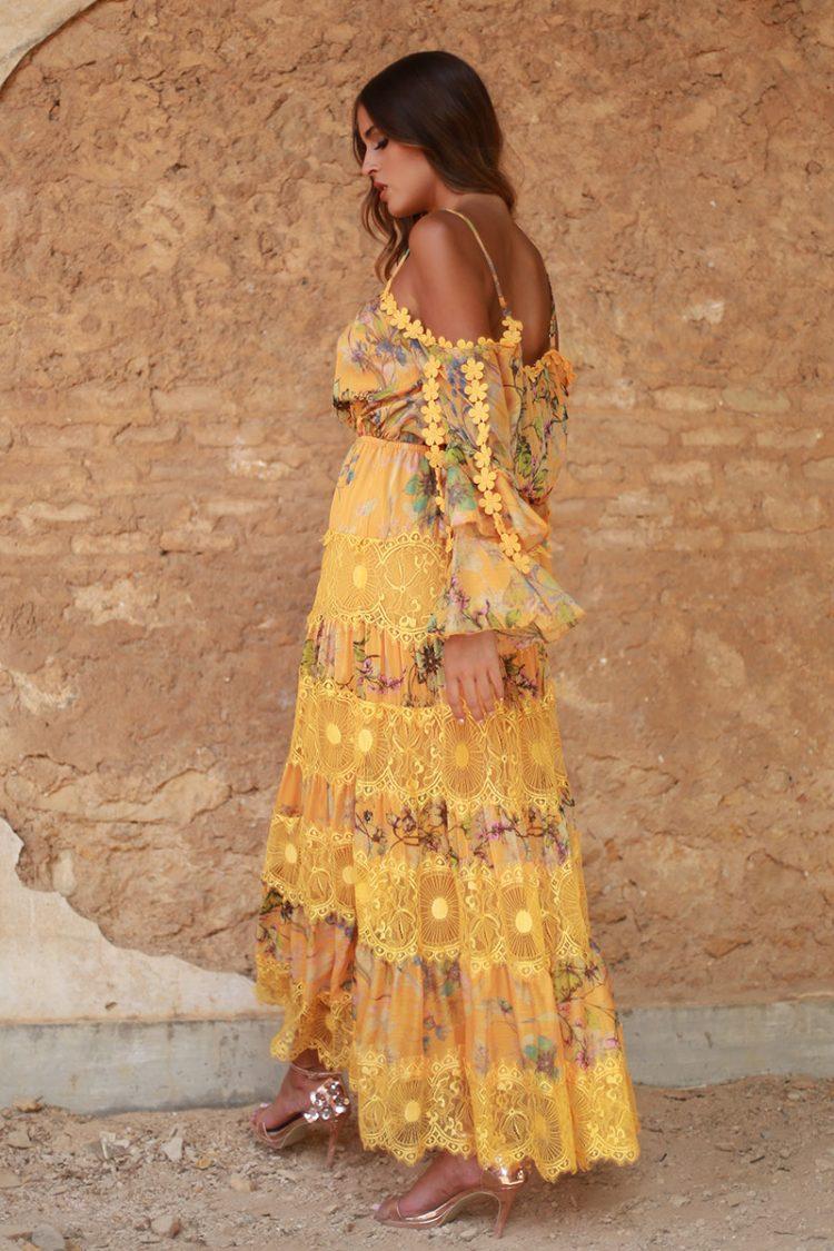 vestido amarillo largo volantes valeria