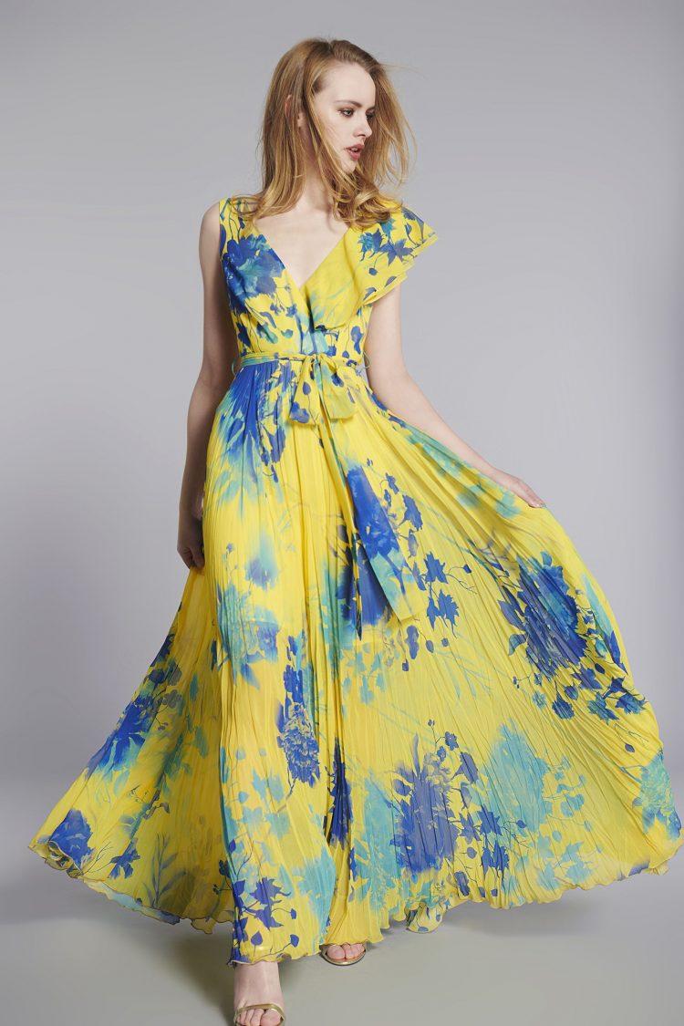 vestido largo amarillo y azul la musa temporada verano